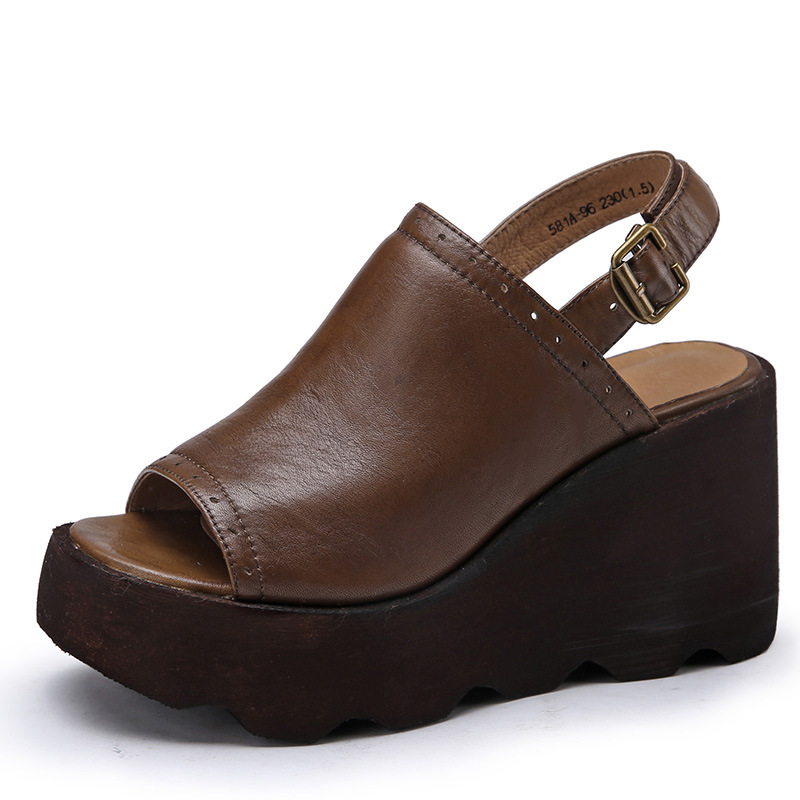 Women Wedge Sandals Genuine Leather Peep Rome Summer Women Shoes Buckle Wedge Heels Brown Women Sandals цена 2017