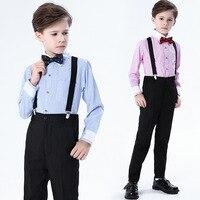 Formal Flower Boy Bib Suit Set Baby Piano Host Performance Wedding Costume Children Shirts Pants Strap Bowtie 4pcs Clothing Set