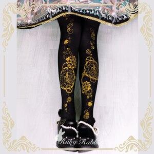 Image 2 - Steampunk rajstopy astrologiczny zegar i przekładnia drukowane Lolita rajstopy/rajstopy 120d aksamitne rajstopy