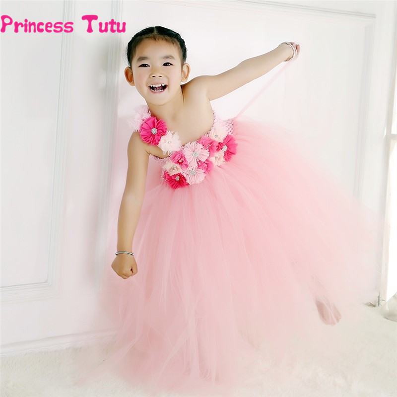 Lovely Tutu Dress Girls Pink Flower Girl Dresses Princess Party Ball Gown Costume Kids Pageant Wedding Performance Tulle Dress feitong korean hairpins for girls flower side hair clip for wedding party kids accessories drop shipping