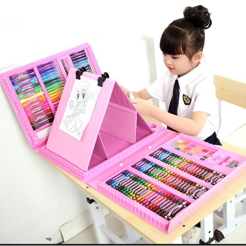 6-10 years old children arts set stationery box for children's painting paint brushes set students gift crayon watercolor pen children s paintbrush sets painting supplies painting tools children crayon watercolor pen art stationery 110 pieces set