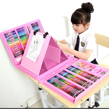 цены 6-10 years old children arts set stationery box for children's painting paint brushes set students gift crayon watercolor pen