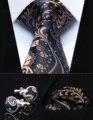 """Festa de Casamento Clássico Quadrado Bolso Gravata TZP11V8 Azul Marinho Paisley 3.4 """"Homens Gravata de Seda Gravata Lenço Abotoaduras Set"""