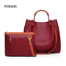 2PCS Bucket PU Handbags Women Bag Set Ladies Shoulder Bag For Women 2018 Large Capacity Tote Messenger Bags Clutch Sac A Main