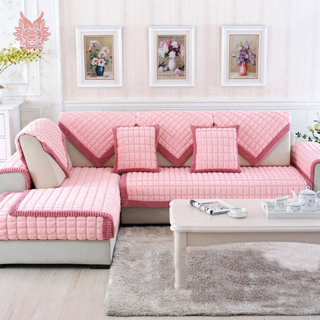 Red Pink Purple Plaid Sofa Cover Plush Rabbit Fur Quilting Sectional  Slipcovers Fundas De Sofa Couch