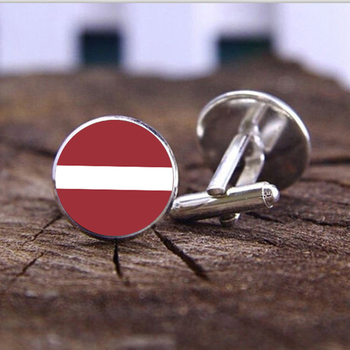 Fashion Flag Cufflinks For Latvian national flag Cuff links Men Valentine Gift Male Jewelry Glass Cabochon wedding Cufflinks image