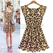 Cuerly Casual Printed Leopard Sleeveless Dress Woman Nightclub Sexy Women O Neck Dresses Female Party Lady DressL4