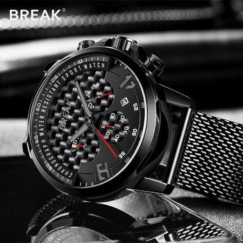 20e817edee90 Reloj de pulsera deportivo para hombre de cuarzo con fecha automática 24  horas reloj de pulsera con cronógrafo de acero inoxidable de malla para  hombre 3302
