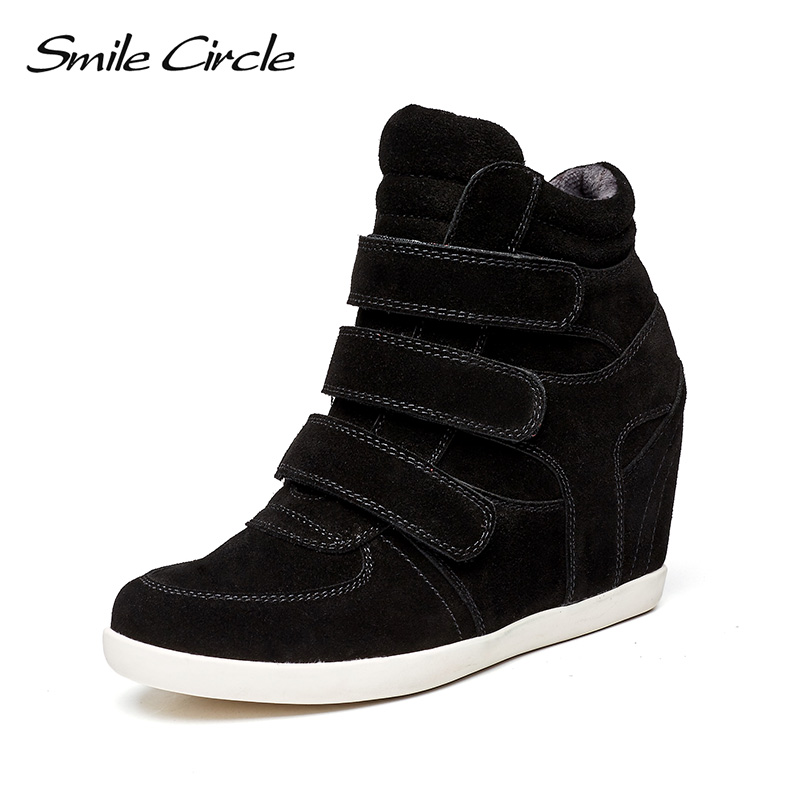 Smile Circle 2018 Spring Wedges Sneakers Women Fashion High-top Platform Shoes High heels Casual Shoes C717B10 smile circle spring autumn women shoes casual sneakers for women fashion lace up flat platform shoes thick bottom sneakers