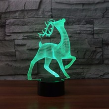 Christmas Deer 3d Night Light 7 Color Changing Remote Touch switch Usb 3d Table Lamp  Novelty Luminaria Led 3d Light Fixtures