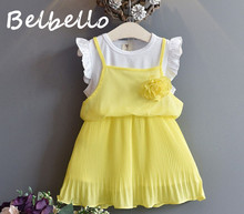 Belbello Girls Dress Summer Two Piece Dress Girls Sets Kid Clothes Sweet Cute Flower Short Sleeve Casual Children Clothing