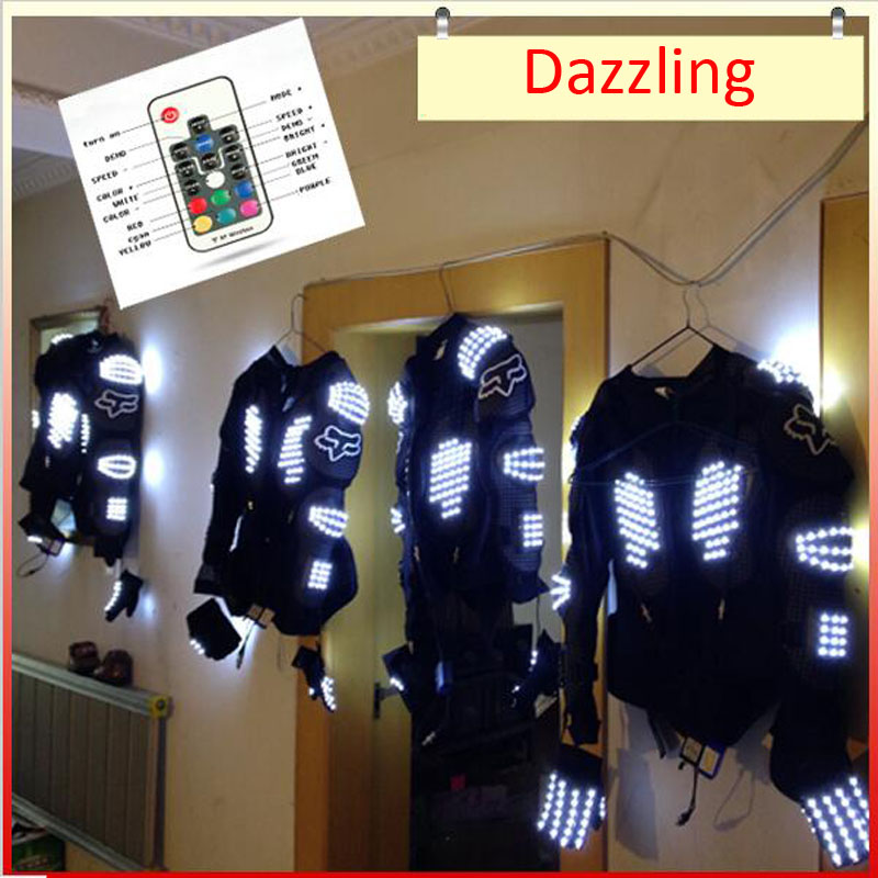 Z New Arrived LED Show armor LED Suits Robot Costume LED Luminous Clothing For Night Clubs Party KTV Party Supplies LED Light new arrival colorful neon led bulbs melbourne shuffle dance costume night lamp el wire bright ghost step suit for concert party