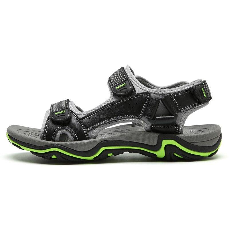 LINGGE/сандалии из натуральной кожи; Мужская Летняя обувь; пляжные сандалии; качественные мужские шлепанцы; большие размеры 39-45;#2628 - Цвет: Черный