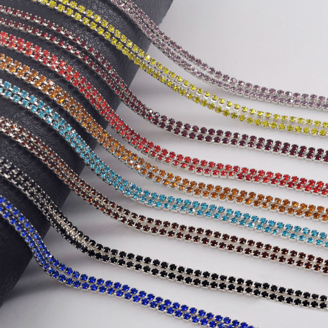 SS6 2mm 10Yard DIY Crystal Densify Rhinestones Trimming Cup Chain Sewing  Garment Accessories DIY Bags Shoes Applique CR-0169 c50755ed2697