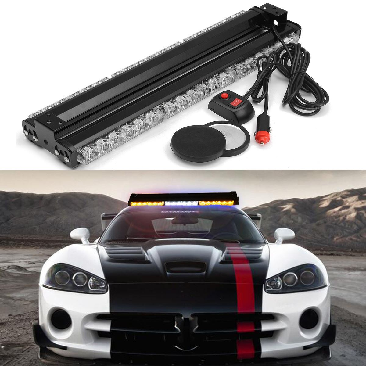 ФОТО Double Side 12V 36LED Car Emergency Strobe Flashing Light Rescue Vehicle Lamp Warning Lighting Work Light Bar Amber White