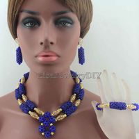 New Royal Blue Crystal Pendant Necklace women earrings Wedding Bridesmaid african beads jewelry set Free Shipping HD8690
