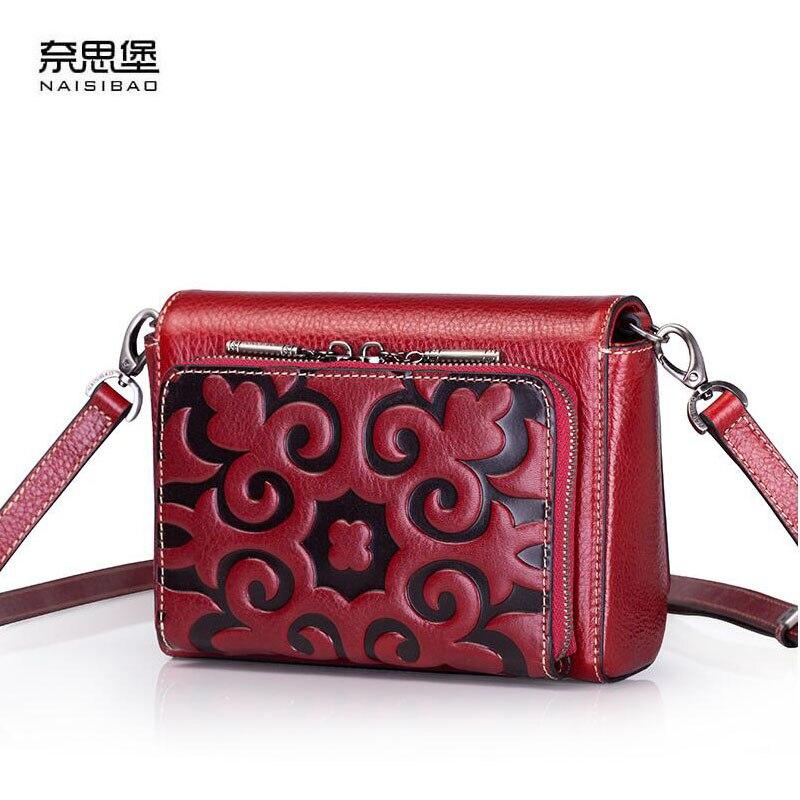NAISIBAO2018 nouveau sac de messager de marque de luxe de haute qualité en cuir d'épaule classique simple petit sac sauvage