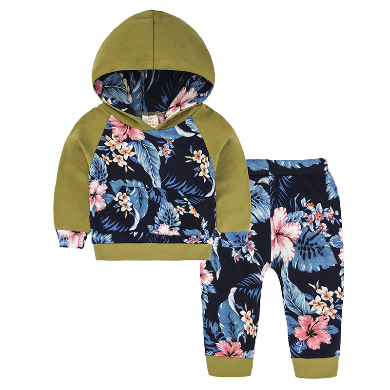 2018 Baby Boy Girl Clothing sets Hoodies Sweatshirt Floral Clothing + Pants Toddler 2pcs Outfits Set Baby Clothes Suit