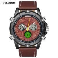 men sports   watches   BOAMIGO brand latest new   digital     watches   quality analog quartz wristwathc leather water resistant gift clock
