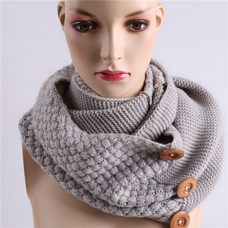 Fashion Winter Warm Scarf 3 Buttons Knitting Ring Scarf Collar Neck Infinity Scarves Shawl For Women New Arrival NQ985056