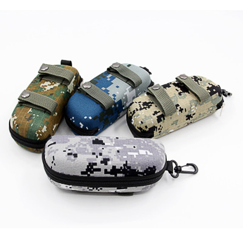 Tactical Camouflage Molle Sunglasses Box EVA Zipper Goggle Box Glasses Storage Case Outdoor EDC Eyewear Accessory Bag
