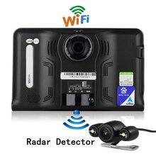 Nueva 7 pulgadas de Navegación GPS Android GPS DVR Videocámara 16 GB Allwinner A33 Quad Core 4 Cpu Detector de Radar de Estacionamiento de la Cámara de Visión Trasera