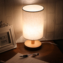Desk Lamp With Fabric Shade Solid Wood Base E27 For Bedroom Living Room Bookcase Cafe Hotel(Bulb Is Not Included)(China)