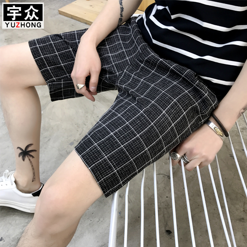 2019 Summer Teen Plaid   Shorts   Men's Casual Korean edition slimming 5 points trend   shorts   MW193