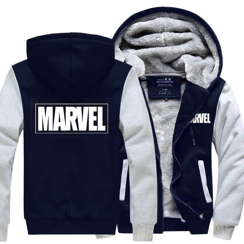 Captain America New Winter Jackets and Coats Marvel hoodie Hooded Thick Zipper Men Sweatshirts Free shipping MARVEL cosplay
