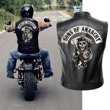 Sons of Anarchy, кожаная куртка, жилет для мужчин, мотоциклетная весенняя куртка, SOA, панк, черный, мотоциклетный жилет