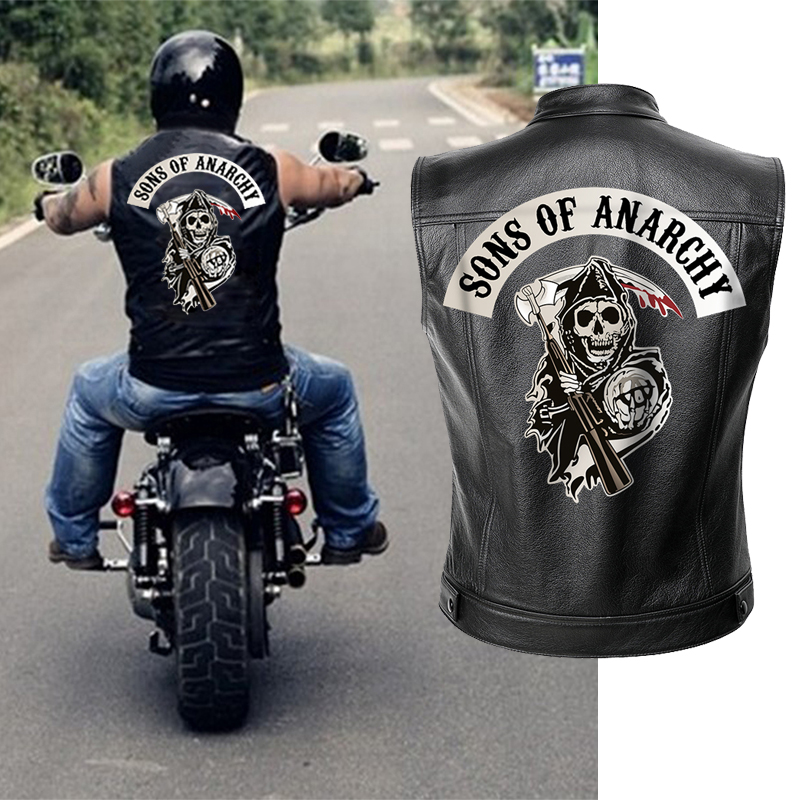 Sons Of Anarchy Leather Jacket Vest Men Motorcycle Spring Jackets SOA Punk Black Motorrad Gilet