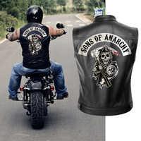 Sons of Anarchy Leder Jacke Weste Männer Motorrad Frühling Jacken SOA Punk Schwarz Motorrad Gilet