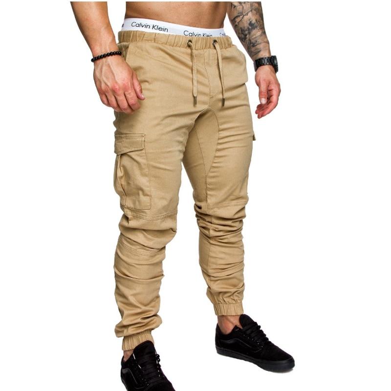 Calças Dos Homens da marca Hip Hop Calças 2018 Calças Masculinas Dos Homens Corredores Corredores Harém Sólidos Multi-bolso da Calça Moletom M-4XL