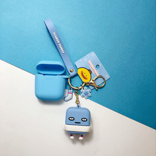 Cartoon Icarer Family Keychain With Silicone Case For Apple Bluetooth Earphone Accessories Fashion Airpods Key Ring