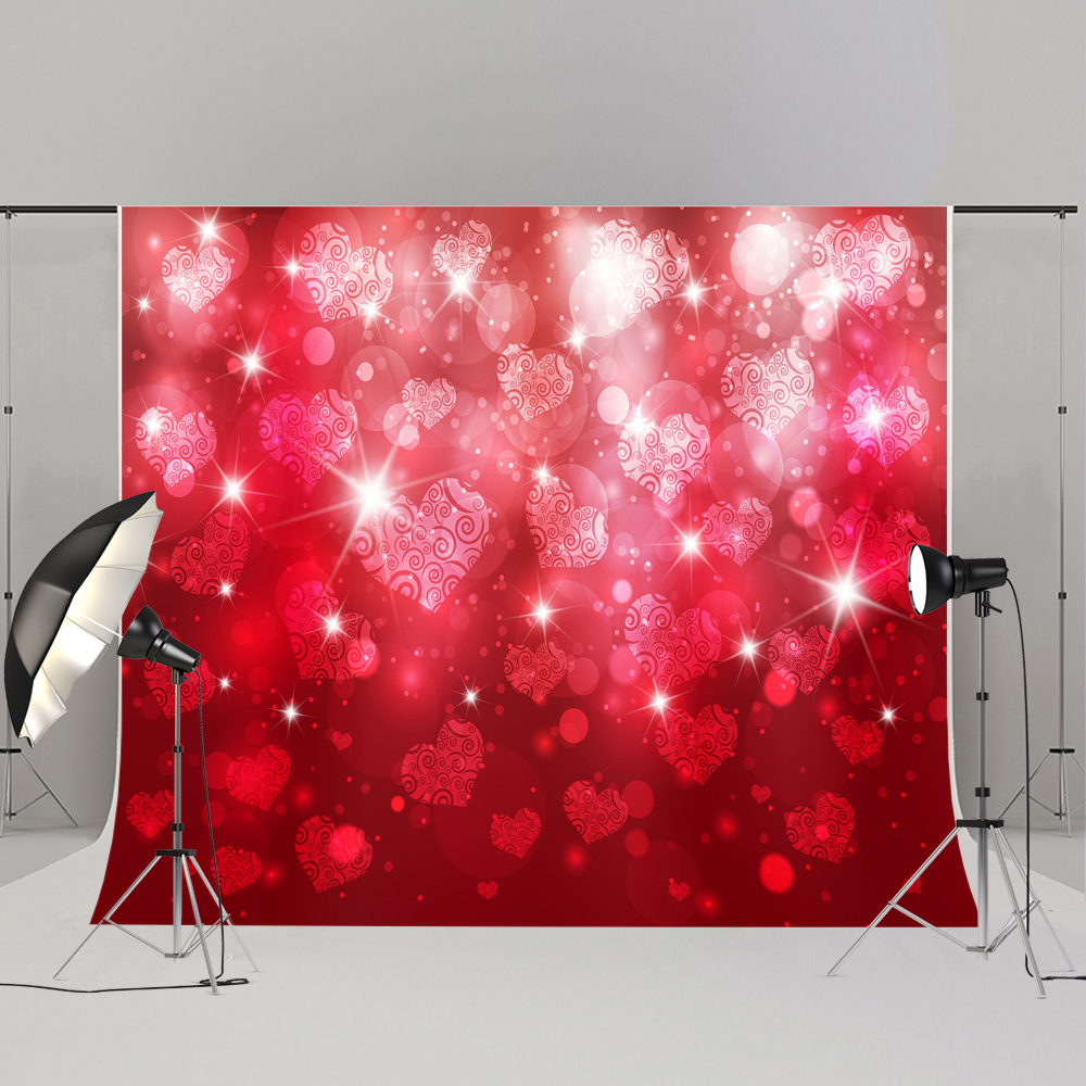 Kate Red  Valentines Day Backgrounds For Photo Studio Love Heart-Shaped Washable Seamless Photo Background Photography Backdrop custom red valentines day gift for men