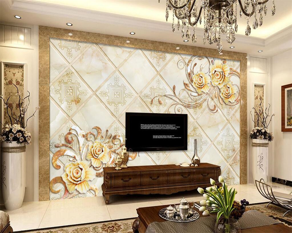 Beibehang Fashion 3d Big Mural Wallpaper Hd Balcony Window: Beibehang 3D Photo Wallpaper Romantic Relief Flower