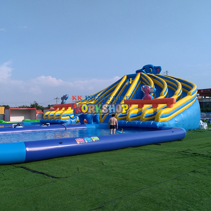 Creative Rainbow Slide Water Park,Mobile Water Park Entertainment Inflatable Slide Pool