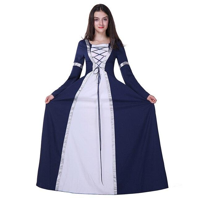dd3550eb0bf Adulte femmes Halloween princesse Costume médiéval Renaissance longue violet  bleu robe Maxi Train robe tenue pour
