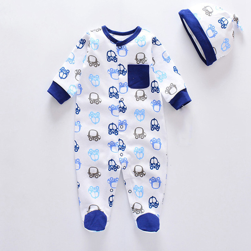 2018 New Arrival Newborn clothes Baby Romper+hat Autumn&Spring full sleeve cotton Jumpsuits printed baby boy girls clothing sets cotton baby rompers set newborn clothes baby clothing boys girls cartoon jumpsuits long sleeve overalls coveralls autumn winter