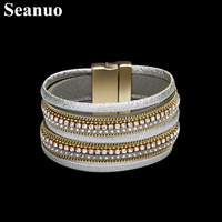 Seanuo Luxury Wide Twisted Leather Magnetic Cuff Bracelet For Women Fashion Female CZ Crystal Friendship Bracelet