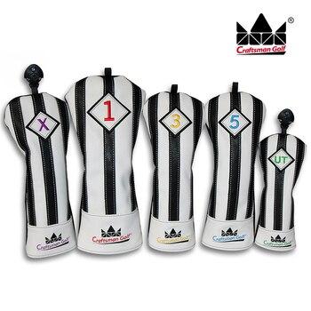 職人ブラックホワイトユベントスゴルフウッドヘッドカバーヘッドカバードライバーFW UTユーティリティヘッドカバー送料無料ゴルフウッド5ヘッドカバー