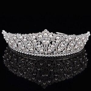 Image 4 - 王冠ヘッドバンドファッショナブルな真珠のデザイン結婚式のヘアアクセサリーの高級ジュエリー aaa + ジルコン BC4955 コロナプリンセサ