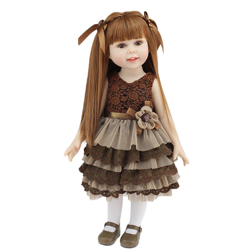 New Design 18 American Girl Doll Full Vinyl Silicone Baby Doll Realistic Reborn Dolls Toys with Beautiful Clothes and Shoes new year merry christmas gift 18 american girl doll with clothes doll reborn silicone reborn baby doll our generation doll