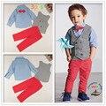 Bonito conjuntos de roupas infantis do Menino cavalheiro 4 pcs terno ajustado Crianças roupas set-manga longa camisas + colete + Calça + gravata borboleta