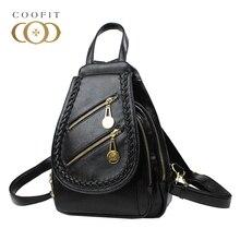 Coofit Fahionable женские Мини-рюкзаки Водонепроницаемый искусственная кожа черный рюкзак для девочек подростков женские ранцы