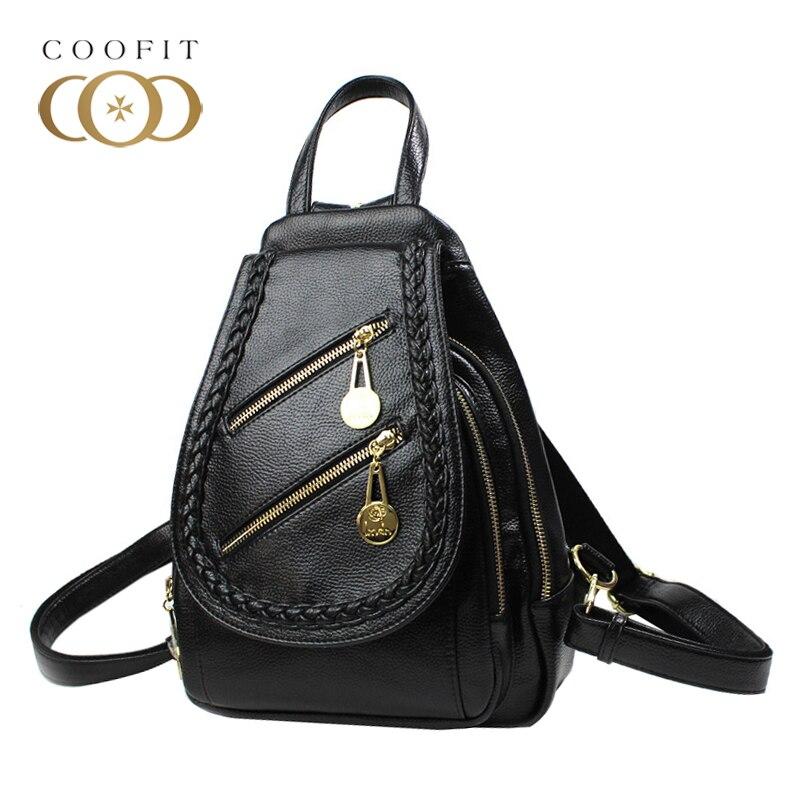 Coofit mode femmes Mini sacs à dos étanche en cuir artificiel noir sac à dos sac à dos pour filles adolescentes femmes cartables