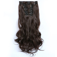 Soloowigs Curly HighTemperature Fiber Women 22inch 12pieces Set Clip In Full Head Long Synthetic Hair Extensions