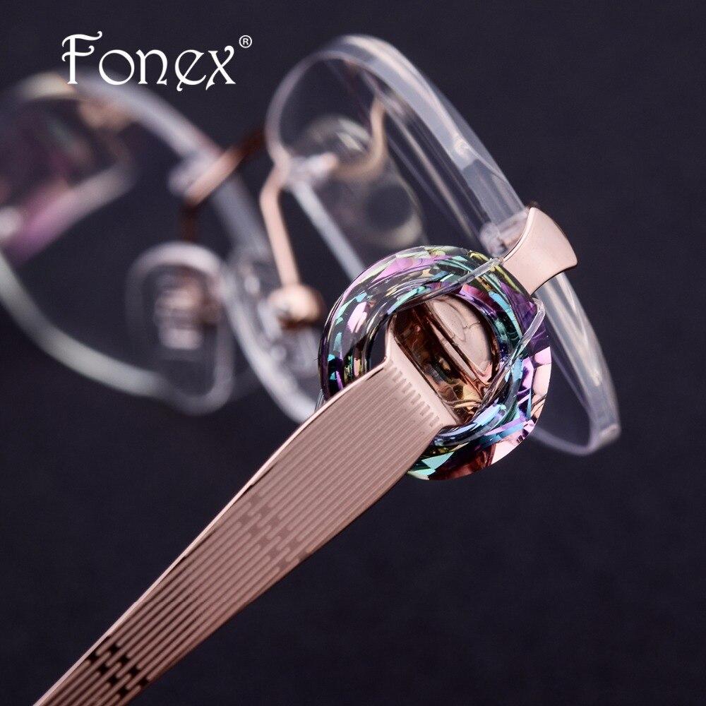 Designer Marke Luxus Optische Diamant Purpurrot Rahmen Brille Ultraleicht Randlose Cut Brillen Titan B Frauen qSH8wY