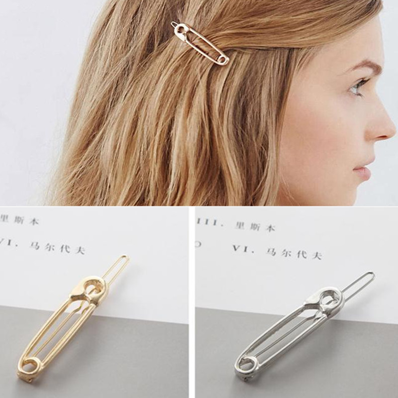T57 High Quality Pin Design Hair Clips Fashion Gold Silver Color Hair Jewelry For Baby Girls Women Hot Sale Gifts Wholesale