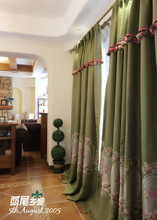2017 New The Continental European and American Country  Rural Cotton Blended Material Court Embroidery Sitting Room Curtains